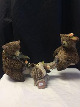 Bears on a seesaw garden ornament